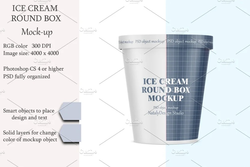 Ice Cream Round Box Mockup