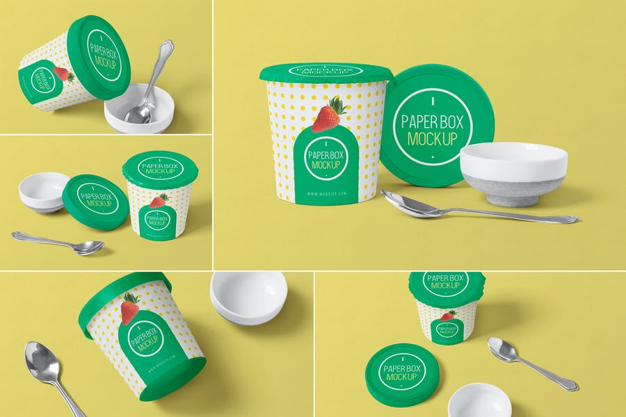 Ice Cream Tub Mockup PSD