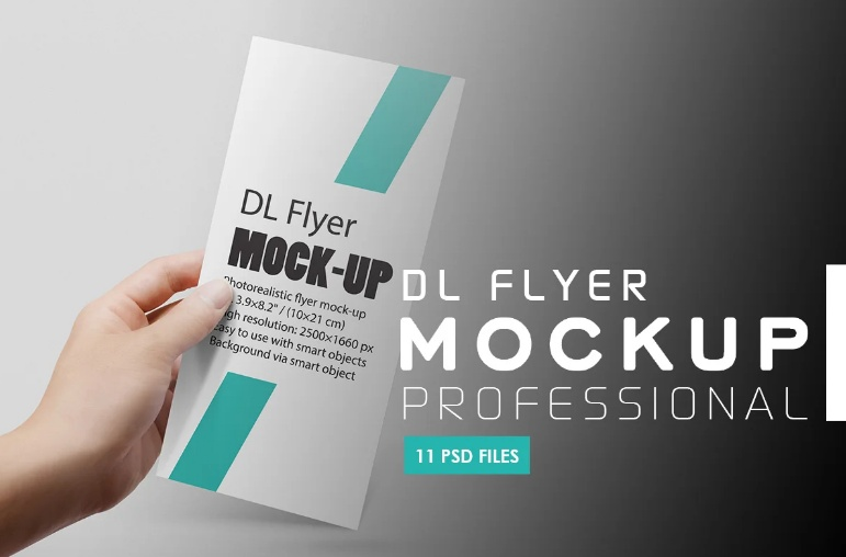 In Hand DL Flyer Mockup PSD
