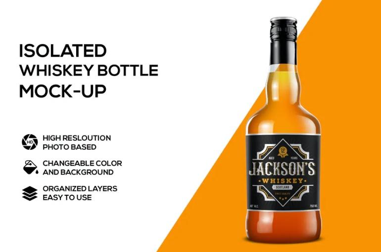 Isolated Whiskey Bottle Mockup PSD