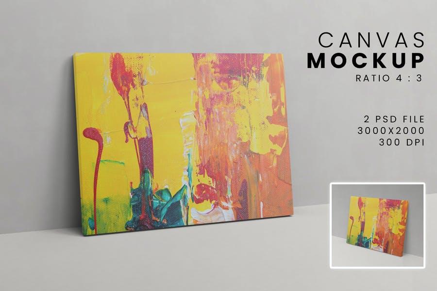 Large Canvas on Floor Mockup