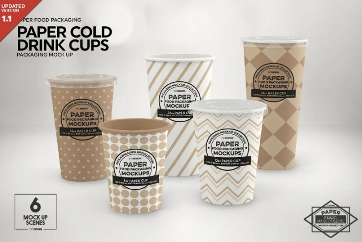 Paper Cold Drink Cups Mockup