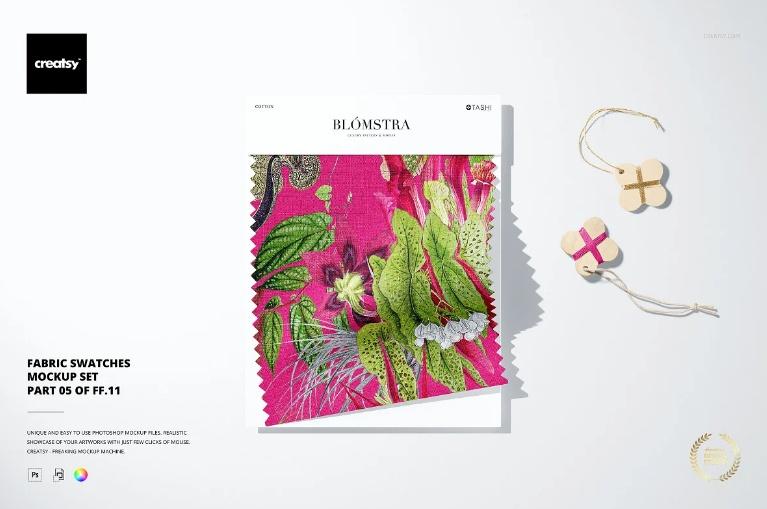 Professional Fabric Swatches PSD Mockup Set