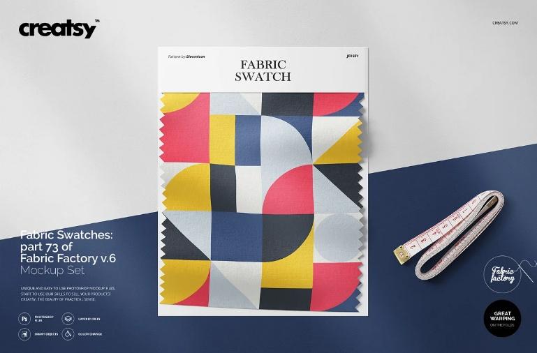 Realistic Fabric Swatch Mockup