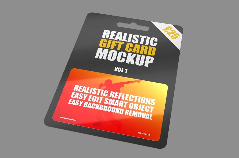 Realistic Gift Card Branding Mockup
