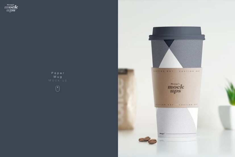 Realistic Paper Mug Mockup