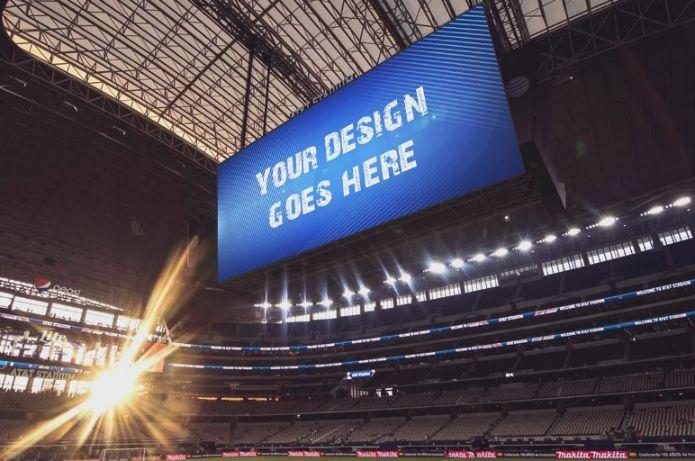 Realistic Stadium Ad Mockup PSD