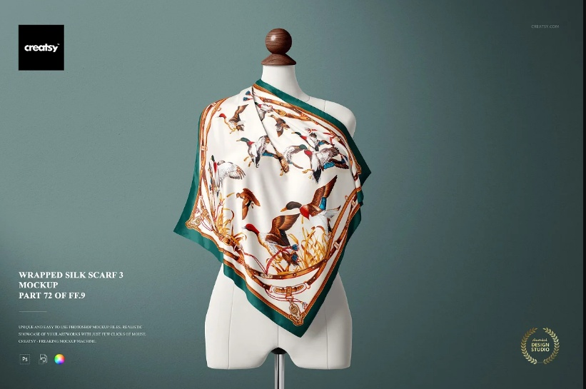 Silk Scarf on Mannequin Mockup PSD