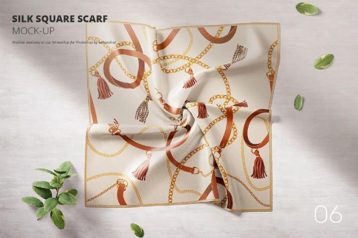 Silk Square Scarf Mockup PSD