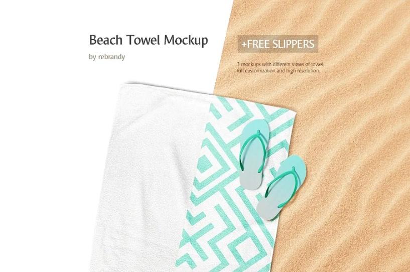 Simple Beach Towel Branding Mockup