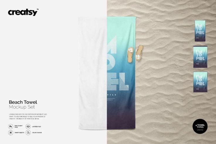 Simple Beach Towel Mockup PSD