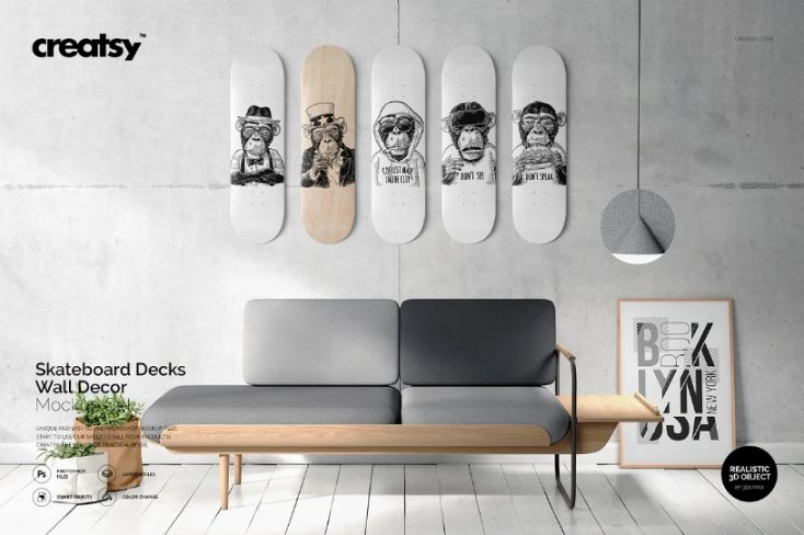 Skateboard Deck Wall Mockup PSD
