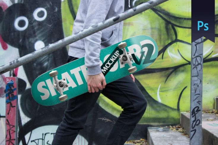 Skateboard and graffiti Wall