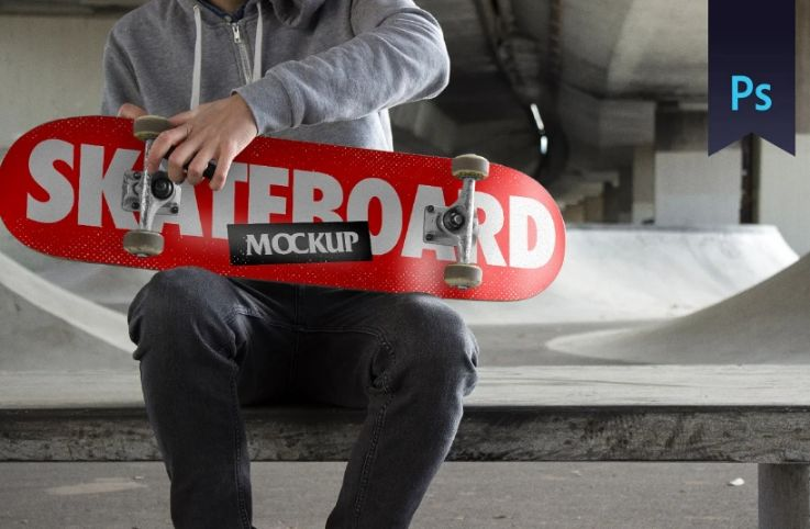 Skateboard in Hand Mockup