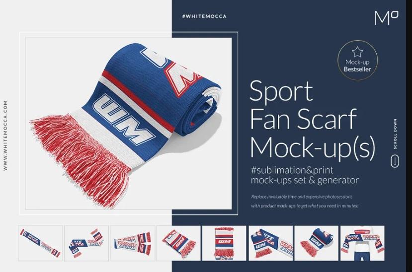 Sports Fan Scarf Mockup PSD
