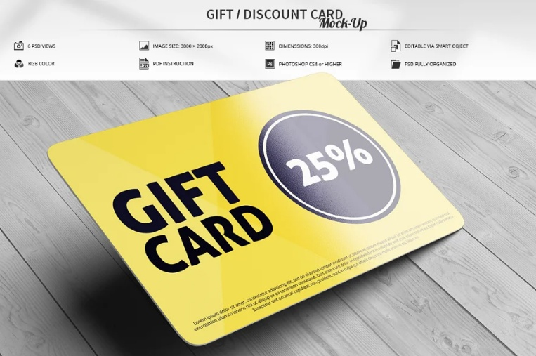 Store Gift Card Mockup PSD