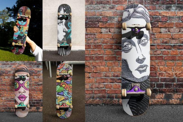 Street Edition Skateboard Mockup PSD