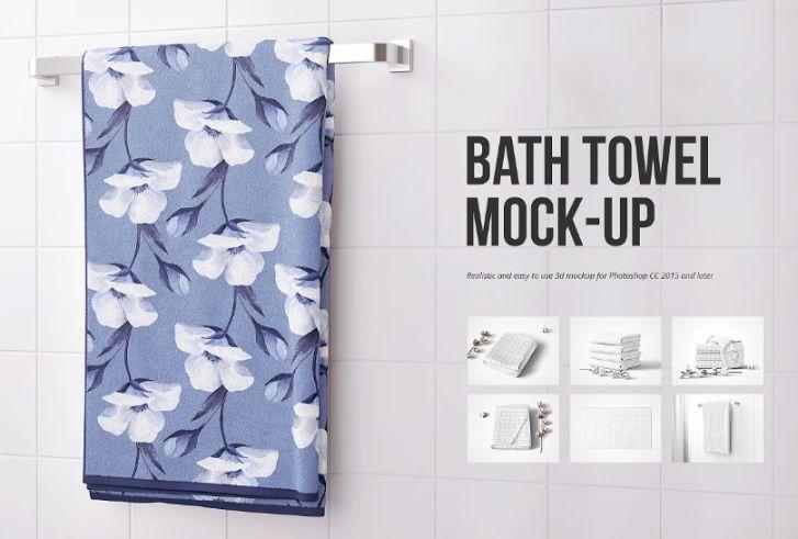 Towel in Bathroom Mockup