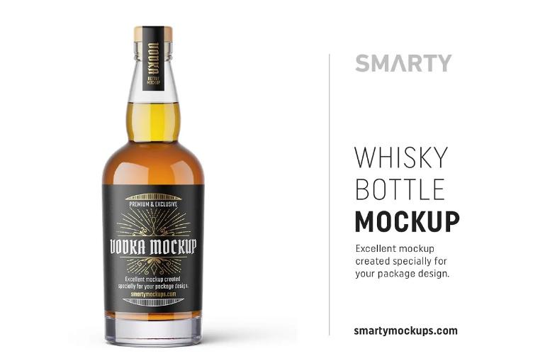 Transparent Whisky Bottle Mockups