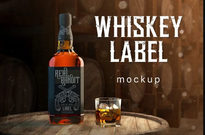 Whiskey Bottle Label Mockup PSD