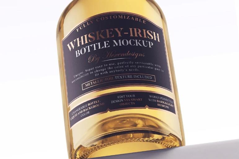 Whiskey Irish Bottle Mockup PSD