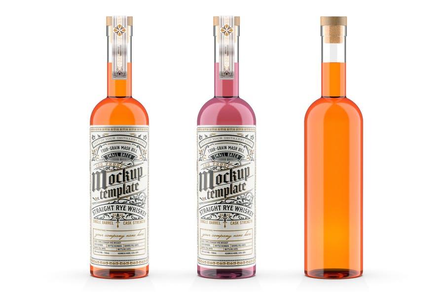 Whisky Glass Bottle Mockup PSD