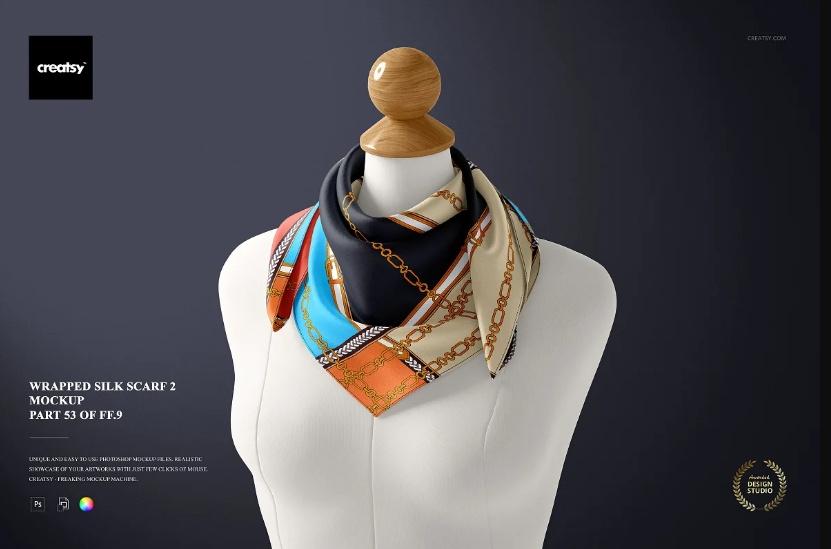 Wrapped Silk Scarf Mockup