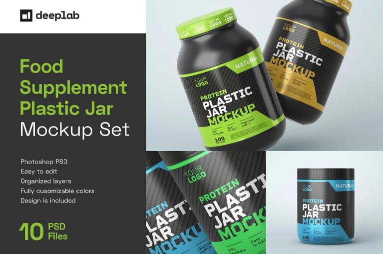 10 Supplements Plastic Bottle Mockups