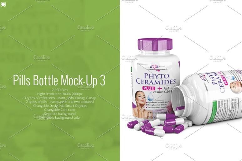 3 Customizable Pills Mockup PSD