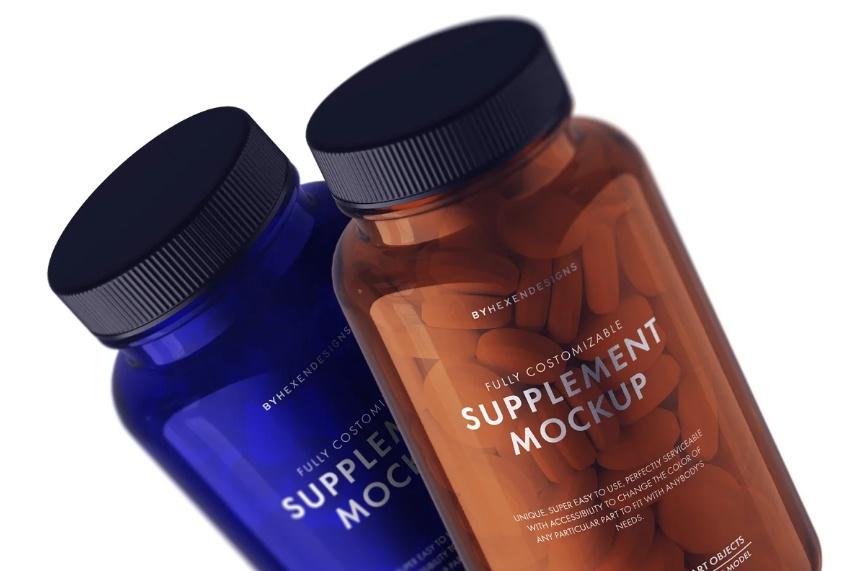 Clean Supplement Bottle Mockup PSD