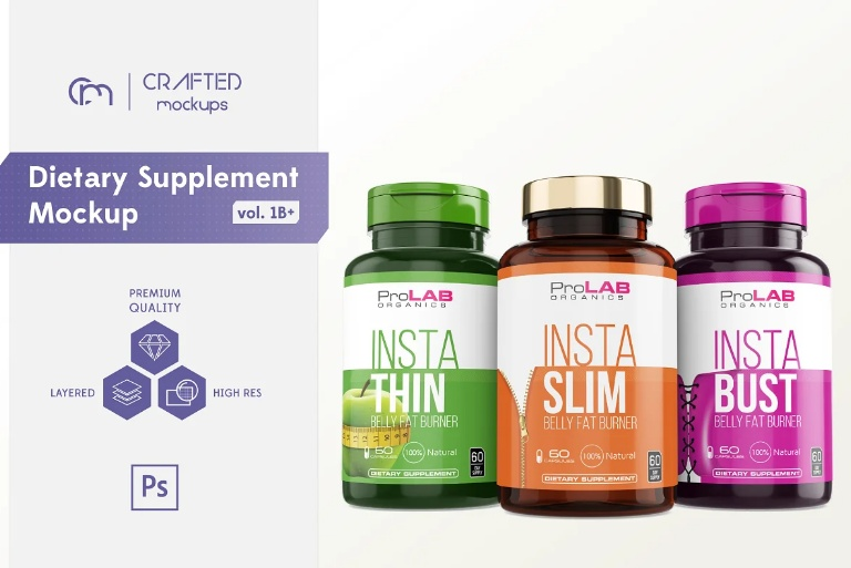 Dietary Supplement Mockup PSD