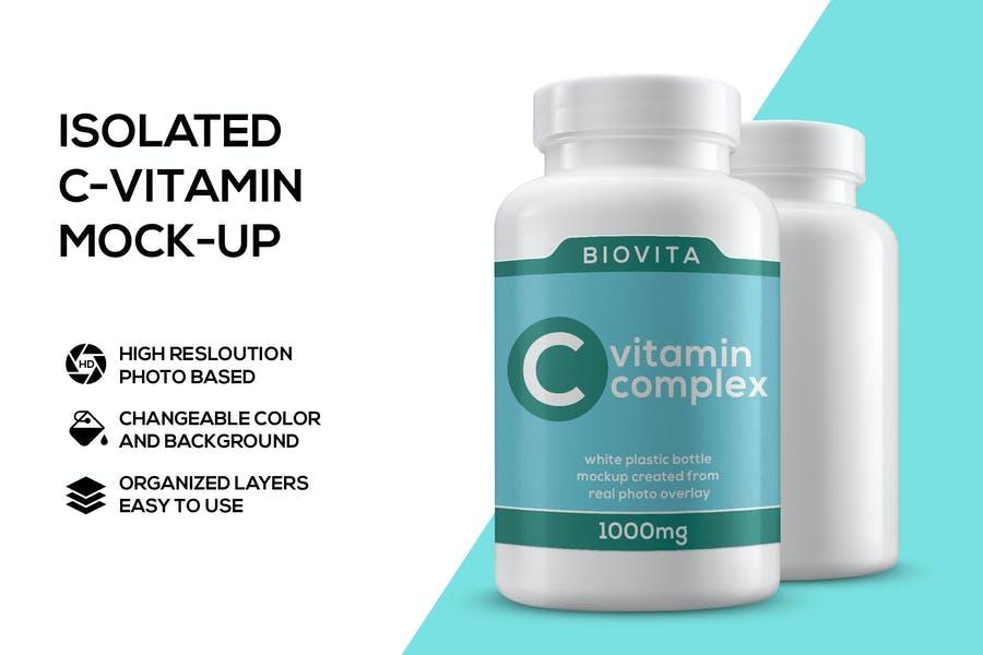 Isolated Supplements Bottle Mockups