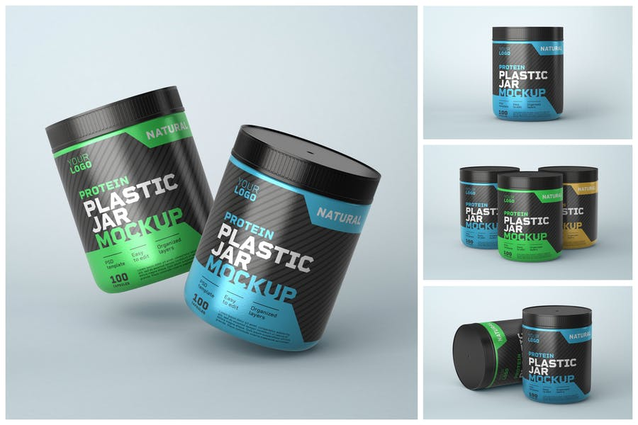 Plastic Protien Jar Mockup PSD