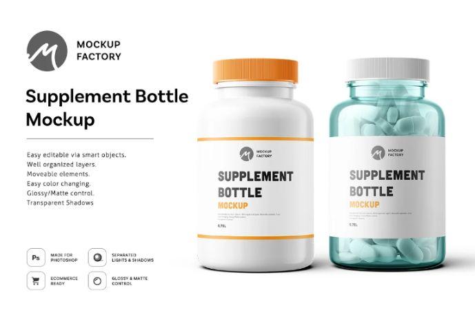 Supplement Label Branding Mockup