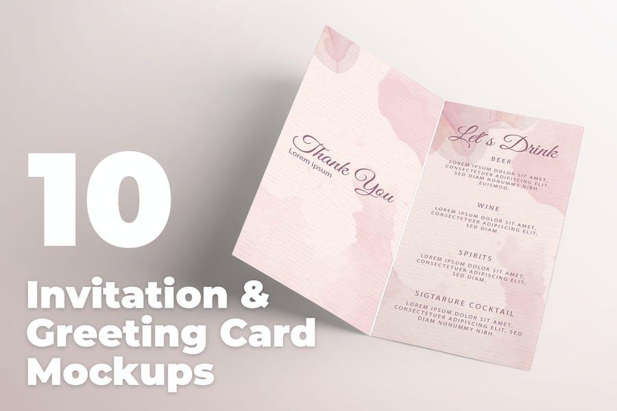 10 Editable Greetings Card Mockup