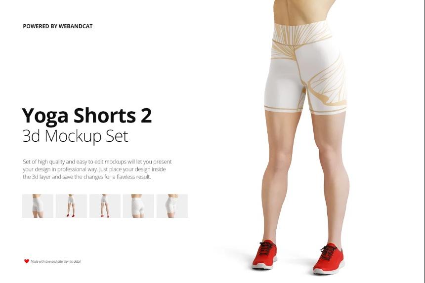 3D Yoga Shorts Mockup Set