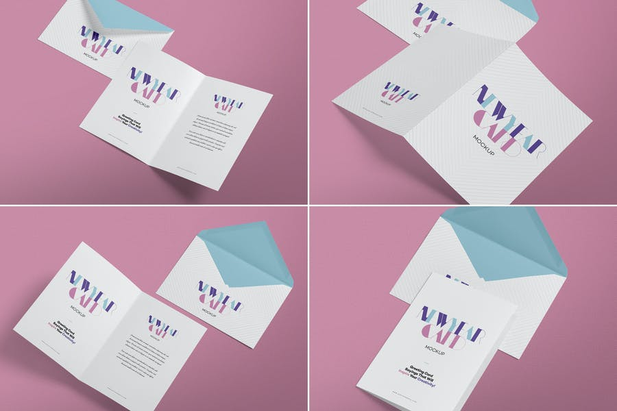 4 Greeting Cards PSD Mockup