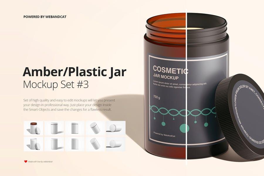 Amber and Plastic Jar Mockups