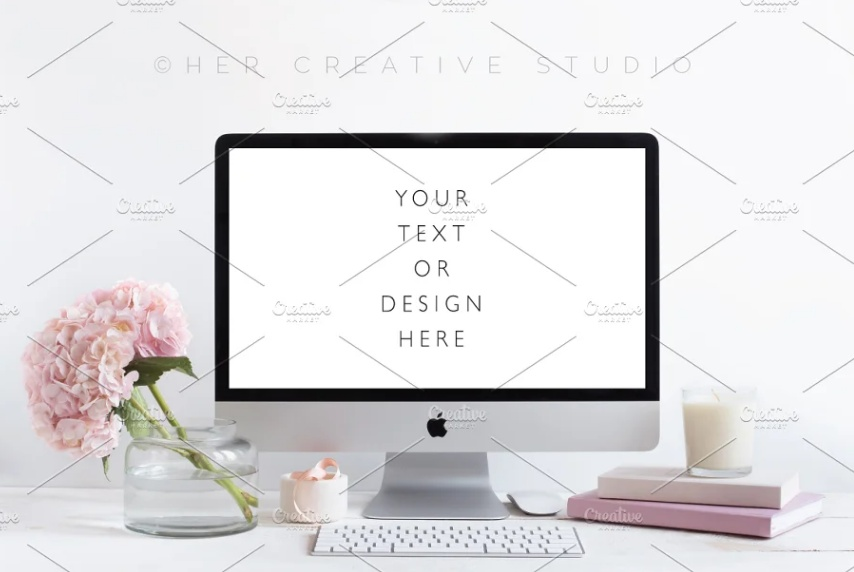 Desktop Mockup with Floral Background