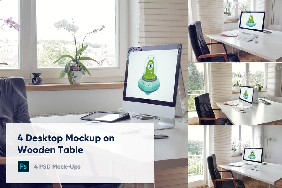 Desktop on Table Mockup PSD