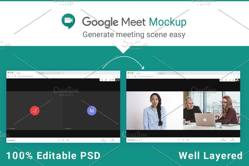 Editable Google Meet Mockup PSD