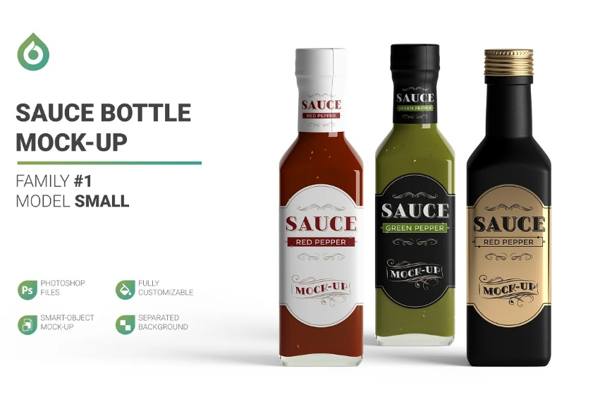 Fully Customizable Sauce Bottle Mockup