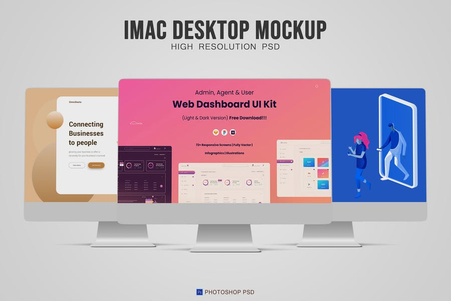 Fully Layered Desktop Mockup PSD