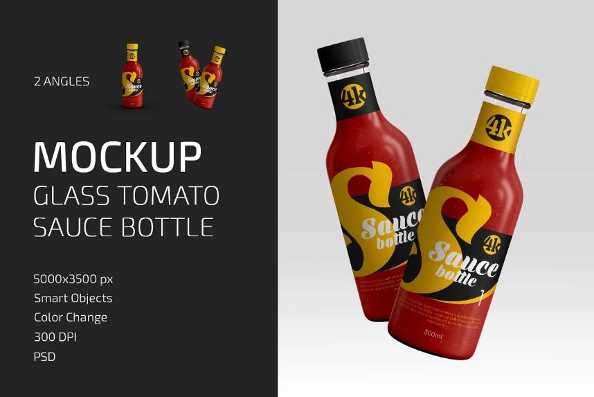 Glass Tomato Sauce Mockups