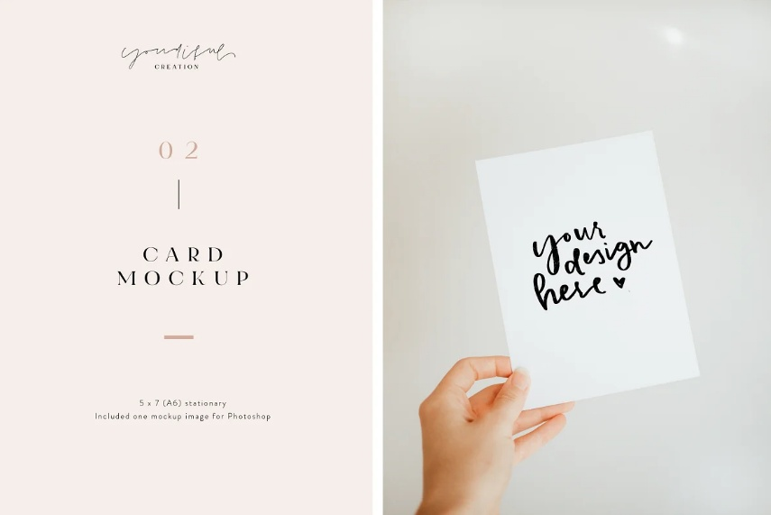 Greeting Card in Hand Mockup