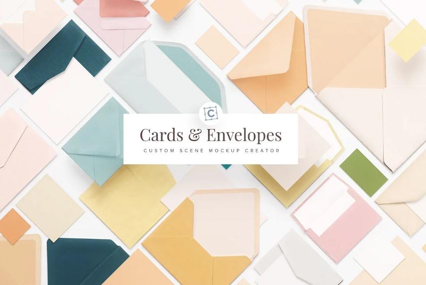 Greeting Cards and Envelope Mockups Set