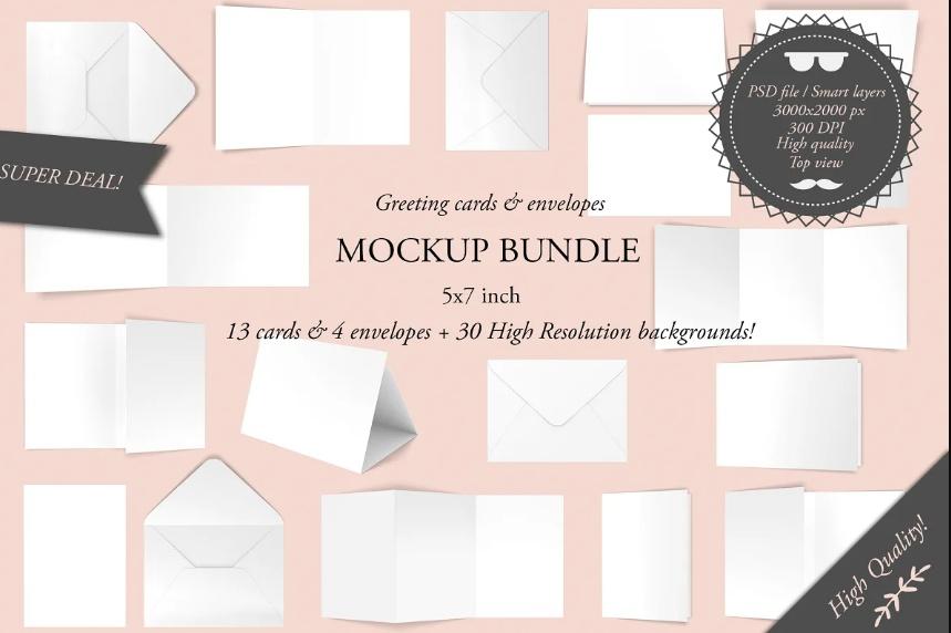 High Quality Greeting Cards Mockup Bundle