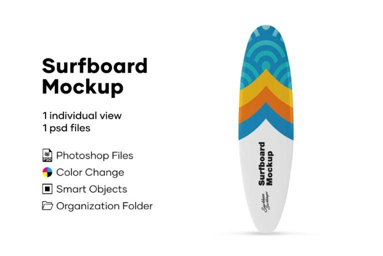 Isolated Surfboard PSD Mockup