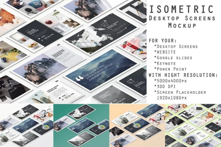 Isometric Desktop Screen Mockups