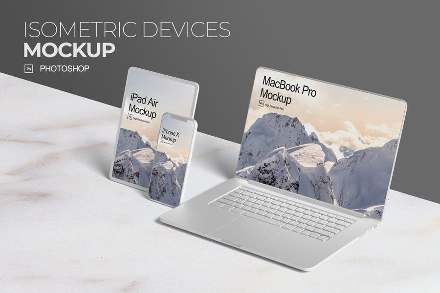 Isometric Device Mockup PSD